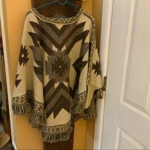 Vintage wool blend native American print poncho